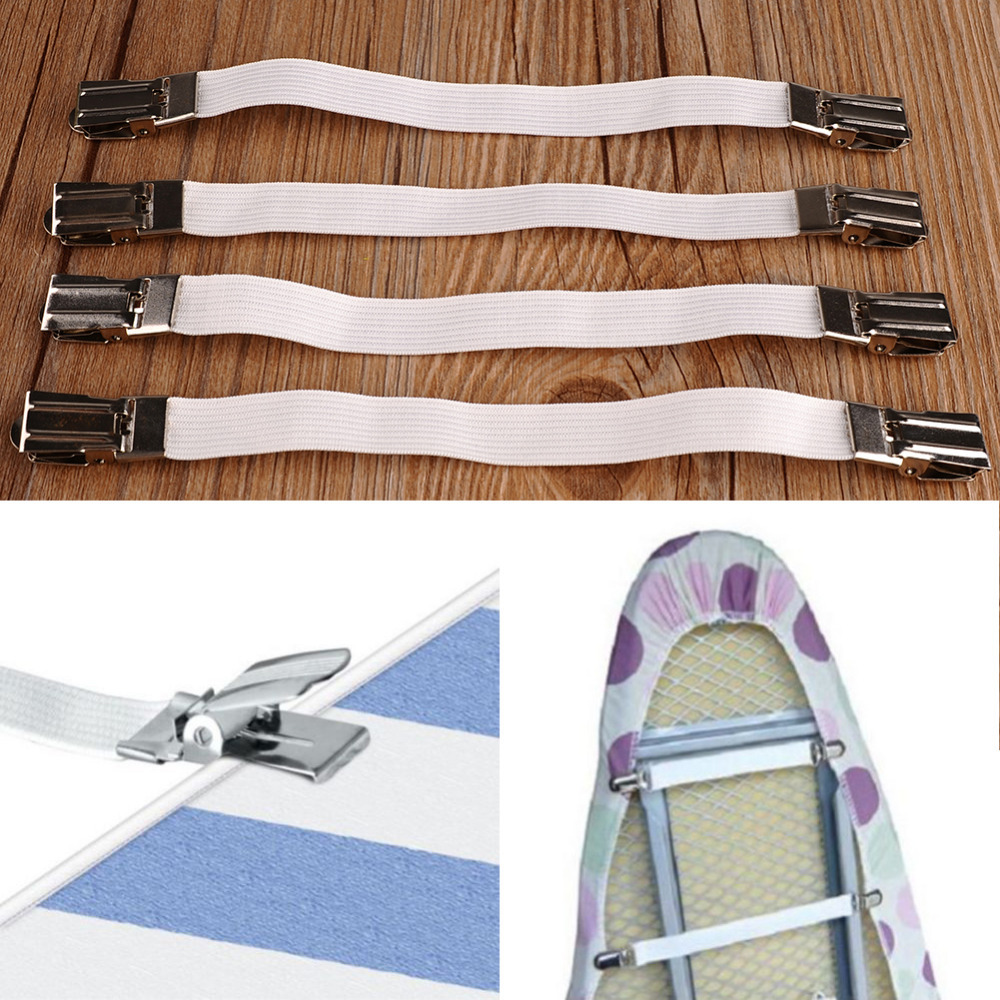 Гаджет  4pcs Metal Bed Sheet Fasteners Mattress Strong Elastic Clip Grippers Tool None Спорт и развлечения
