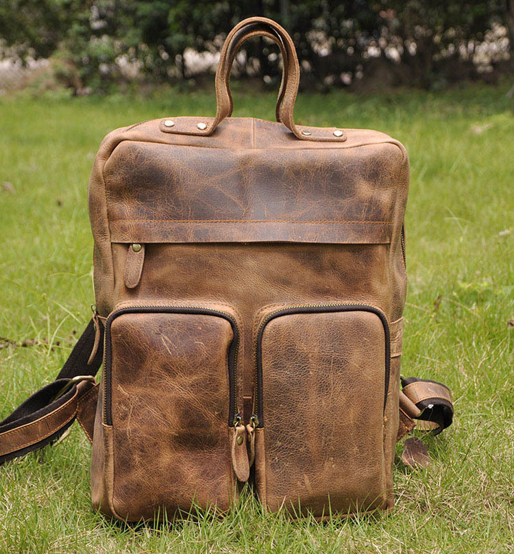 Crazy horse leather backpack imported European American retro men's large-capacity 14-inch computer bag - Cowhide Leather bags store