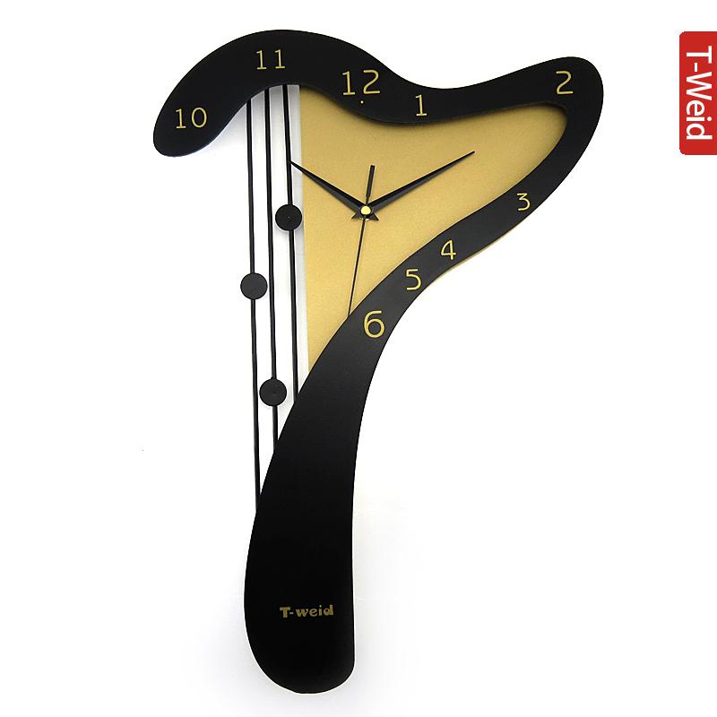Superior Wooden arch hammock wall clock wooden harp clock fashion clock quieten decoration watch quartz clock(China (Mainland))