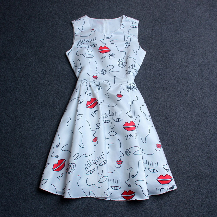 women's new runway 2015 lip dot portrait print sleeveless summer dress - Chic Classic Store store