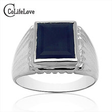 Buy Luxurious Ring men 10mm*12mm natural dark bule sapphire ring 925 silver square ring,from biggest mine China for $87.31 in AliExpress store