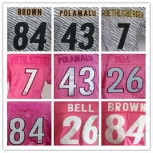 woman's 7 Ben Roethlisberger 43 Troy Polamalu 84 Antonio Brown 26 LE'VEON BELL pink Love of zebra jerseys(China (Mainland))
