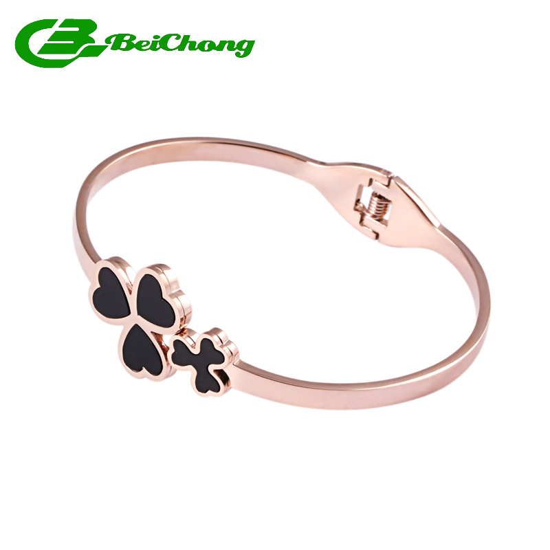 2016 Beautiful Three Leaves Bracelet Love Hope Sweet Bracelet Luxury Charm Stainless Steel Bangles Rose Gold Joyeria BCB-0062(China (Mainland))