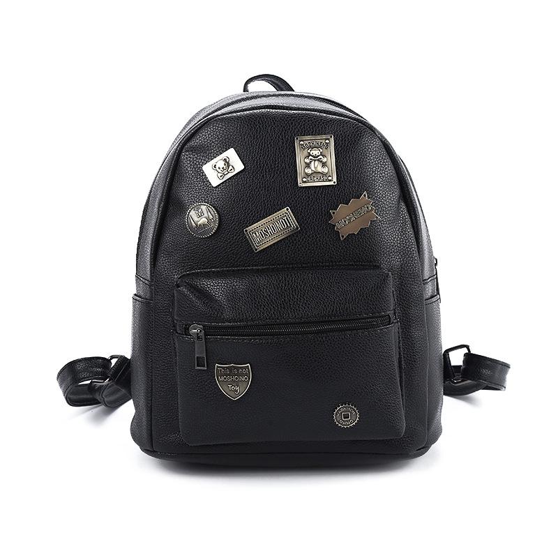 Best quality fashion retro backpack women 2016 pu leather bags hot sale new vintage rivet travel campus mochila feminino bolsos(China (Mainland))