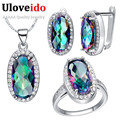 Uloveido 49 off Sets CZ Diamond Necklaces Earring Ring for Women Crystal Wedding African Fashion Silver