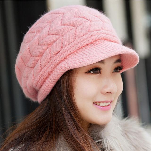 2016 новое поступление элегантных женщин вязаные шапки кролика Cap осень зима дамы ...