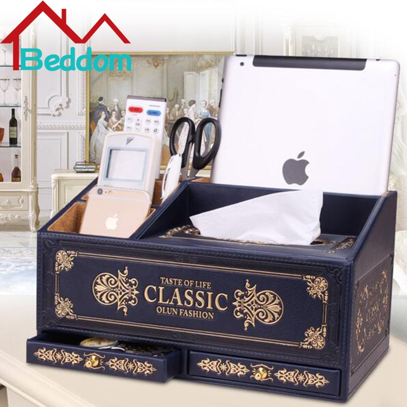Beddom European Noble PU Leather TV Remote Controls Media Jewelry Phone Holder Organizer Rack Wooden Drawer Desktop Storage Box(China (Mainland))