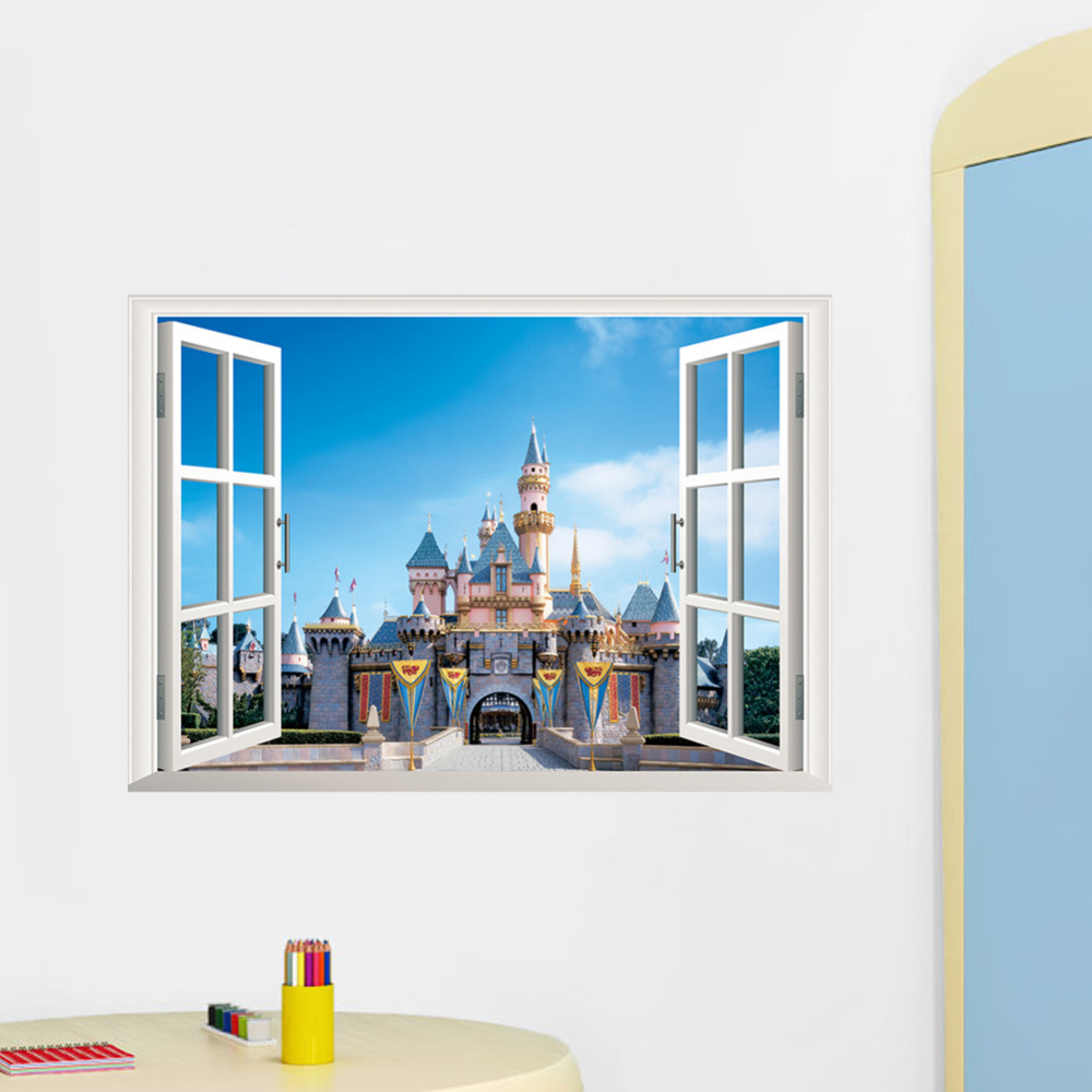 Princess castle 3d window removable wall sticker wall for Decor mural 3d
