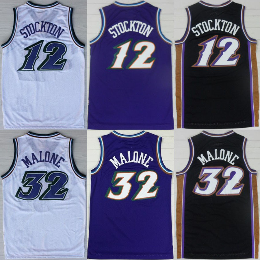 Hot Sell Authentic Utah #12 John Stockton Jersey #32 Karl Malone Jersey Purple White Throwback Snow Mountain Basketball Jersey(China (Mainland))