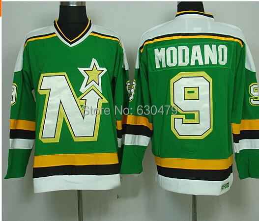 Men's hockey jerseys Dallas Stars jerseys Minnesota North Star #9 Mike Modano Vintage throwback home/away Hockey Jersey(China (Mainland))