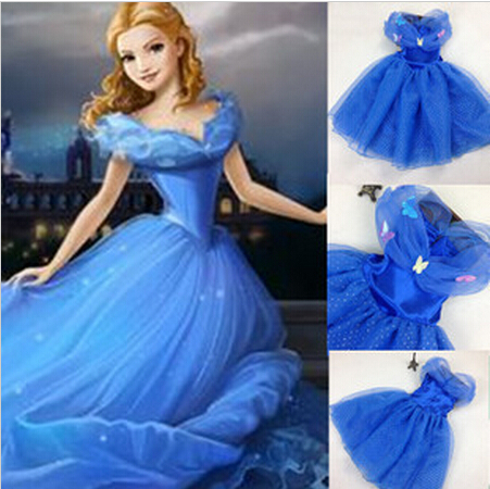 2015 Cartoon Cosplay Princess Party Costume Girls Fancy Blue Cinderella Dress Halloween Butterfly Baby Kids Costumes - dang q's store