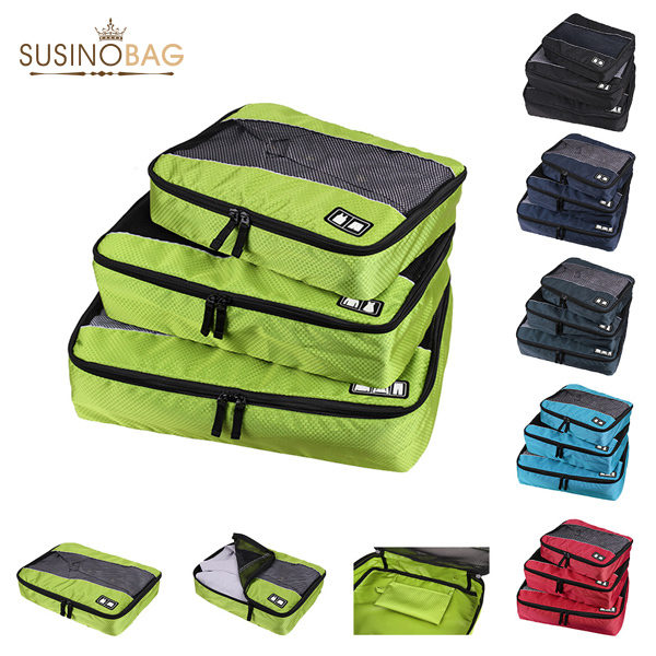 SUSINO Nylon Packing Cube travel bag System - Durable 3 Piece men's travel bags Weekender Set sport bag storage bag Organizer(China (Mainland))