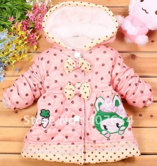 Wholesale-winter new girl double bowknot rabbit head turnip whole body little and cotton coat-WYF