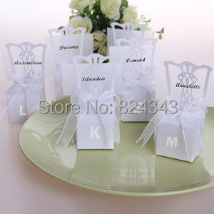 Wedding Favors and Gift Silver Chair Favors Box Personalized Letter ...