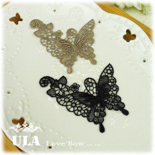Wholesale Butterfly designs applique 2colors DIY Decoration Lace Fabric Paste Decoraive Cloth Paste and Lace Applique  40pcs/lot