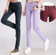 Pants Capris Spring 2016 new 10 colors 6 yards Casual Miss Han Ban waist was thin candy colored feet pencil pants stretch jeans(China (Mainland))