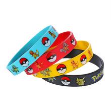 4pcs/set Pokemon Party Supplies Silicone Bracelet Go Pikachu Pokemon Birthday Party Decoration 4 Colors Bangles(China (Mainland))