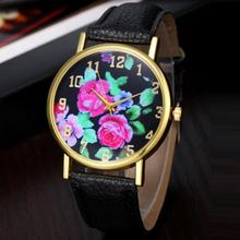Hot Marketing  2015 Women's Leather Rose Floral Printed Analog Quartz Wrist Watch N5 Hcandice
