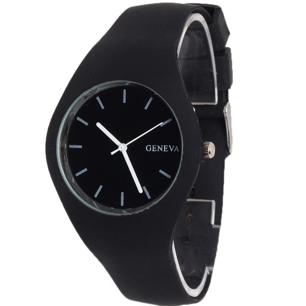 Stylish Black Fashion Geneva Quartz Simple Style Analog Silicone Ladies Sport Wrist Watch - zhongqi yi's store