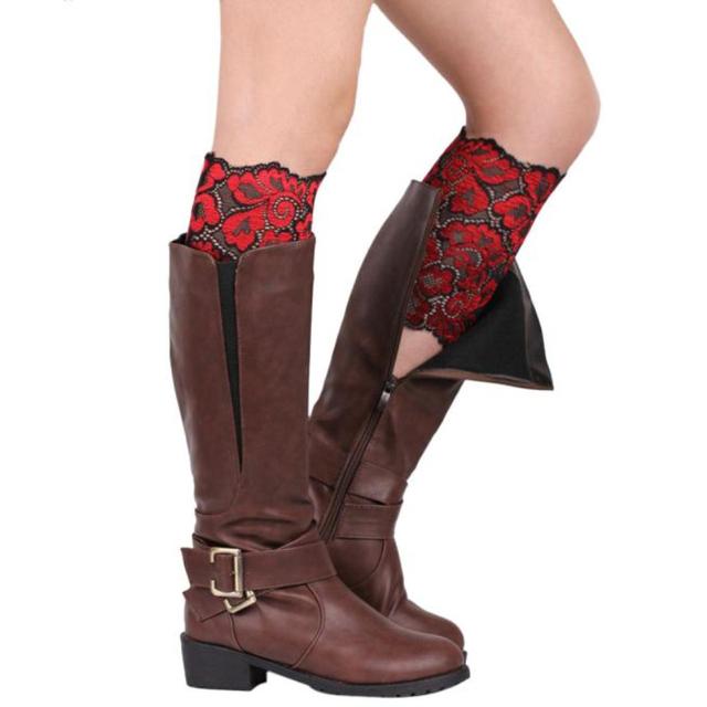 Новое стрейч кружева загрузки манжеты женщин девушки ноги кружевной отделкой цветок ...