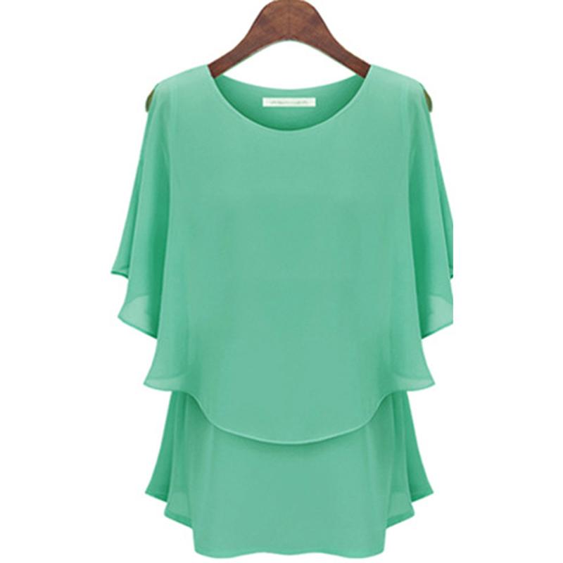 4XL5XL European Summer Style 2015 New Ladies Oversize Black Yellow Batwing Sleeve Blouses Women Plus Size Chiffon Tops YB393(China (Mainland))