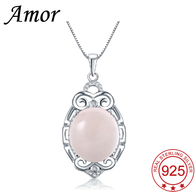 Amor 2016 New Arrival Sterling Silver Jewelry Platinum Plated Women Necklace &amp; Pendants Pink Ross Quartz Water Drop Shape<br><br>Aliexpress