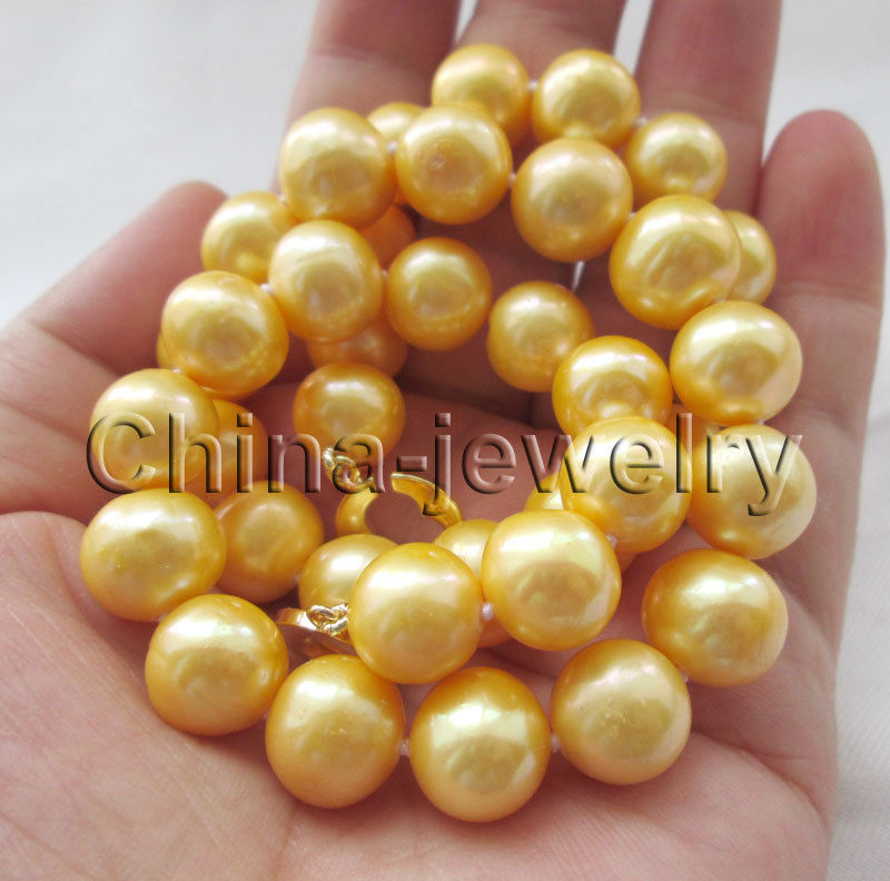 Wholesale price 16new ^^^^Beautiful 17.5  12mm golden round freshwater pearl necklace - 14k gold filled <br><br>Aliexpress