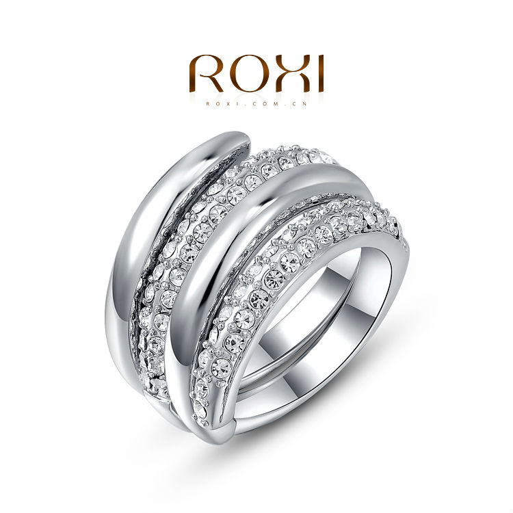 2015 ROXI Brand new arrival women rings fashion rose gold plated set with delicate crystal wedding ring for girlfriend best gift(China (Mainland))