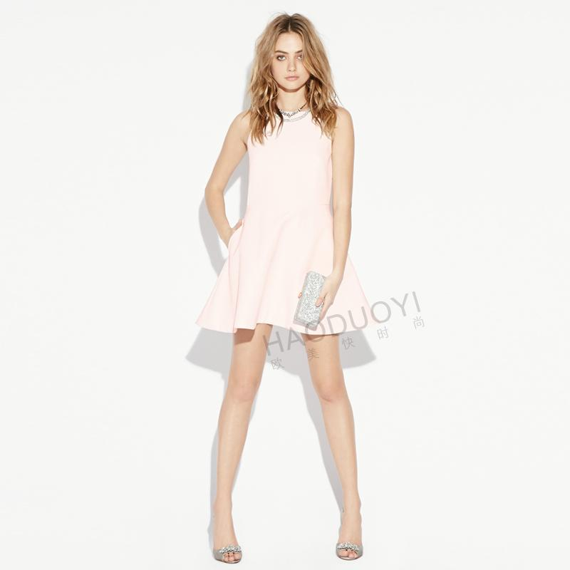 2016 beach house Mini sleeveless, sling back strap backless women Pure Color Sling Strap Ladies Sexy Party Dress(China (Mainland))