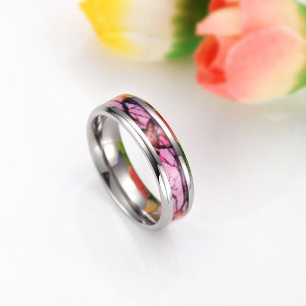 6MM New Pink Camo 100% Titanium Ring Deer Pattern Camouflage Style Wedding Band Fashion Jewelry(China (Mainland))