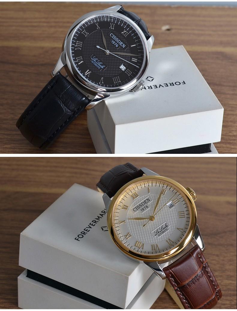 CISSDEN Люксовый бренд мужская механические наручные часы 100 м водонепроницаемый календарь 316L твердой стали