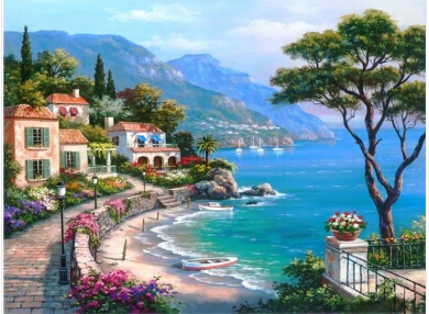 Frameless Pictures Painting By Numbers Digital Acrylic Oil Painting On Canvas Mediterranean Sea Pattern Home Decor 40x50cm G302(China (Mainland))