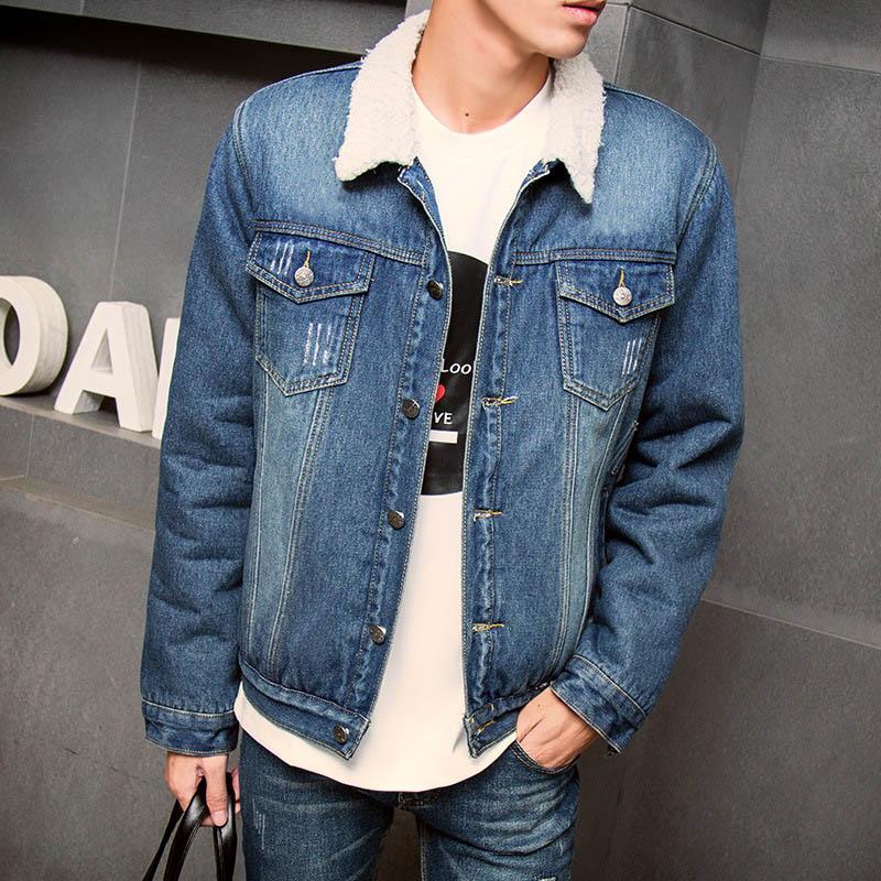 2015 Autumn Clothes New Fashion Men Casual Jean Long-sleeved Denim Slim Jacket Men's Thick Fleece Coat 13M0458