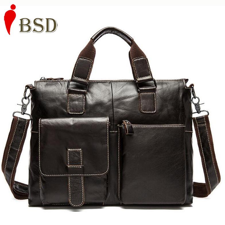 2016 Men messenger bags genuine leather bag men briefcase fashion designer handbags high quality famous brand business bag(China (Mainland))