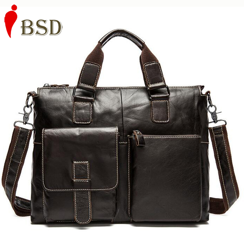2016 Men messenger bags genuine leather bag men briefcase fashion designer handbags high quality famous brand business bag(China (Mainland))