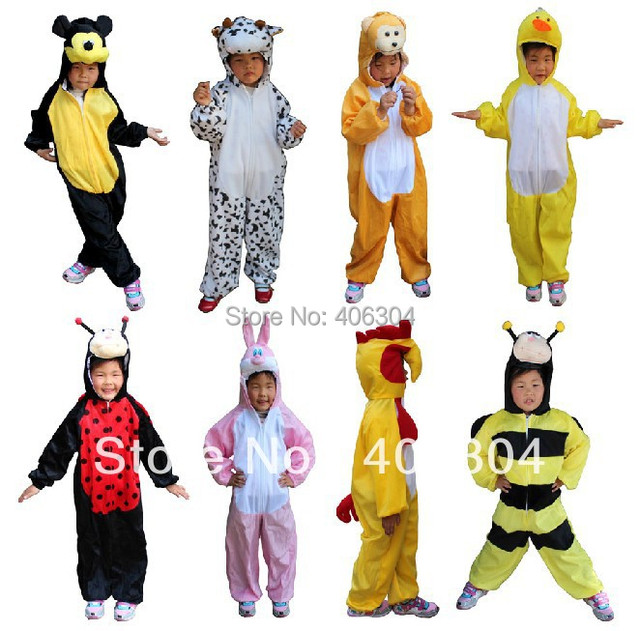 Free shipping,bear duck bee frog crocodile monkey panda cow dog wolf Cosplay clothing Children animal costume for kid,30styles