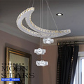 led crystal chandelier with 3 star and 1 moon Stainless steel wire cutting lights living room