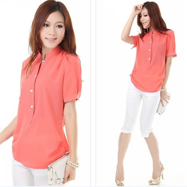 2015 Summer Fashion Short Sleeve Women Blouse New Stand Collar Chiffon Shirts Women  Casual Plus Size Shirt