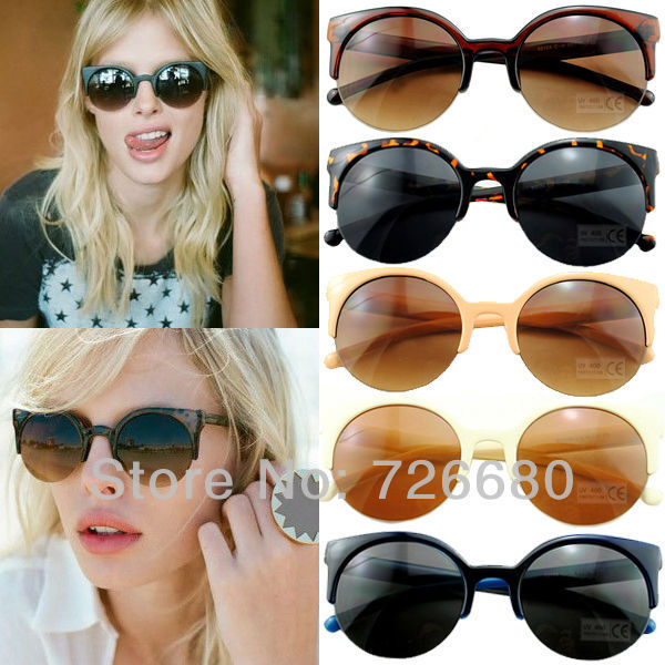Hot sale ! Hot Fashion Elegant Rare Super Circle Retro Round Half Frame UV400 Sunglasses 120-0033