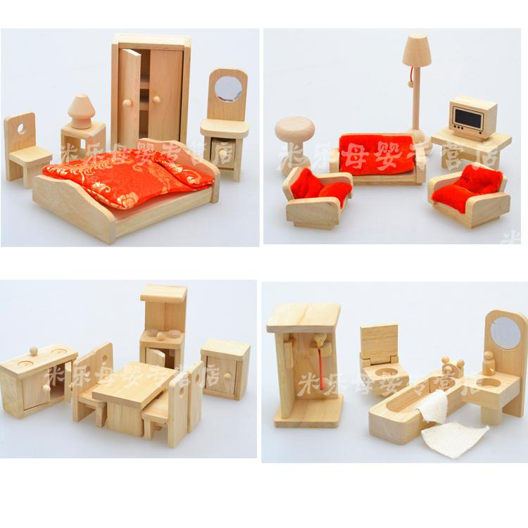 Baby Toys Wooden Furniture Set Child Intelligence Toys Baby Wooden Toy Set Pretend Play 4