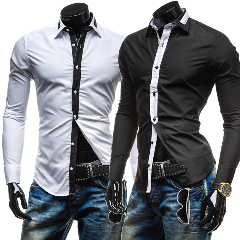 2015 new design long sleeve casual camisa masculina slim fit white mens dress shirts  -  DT boutique store