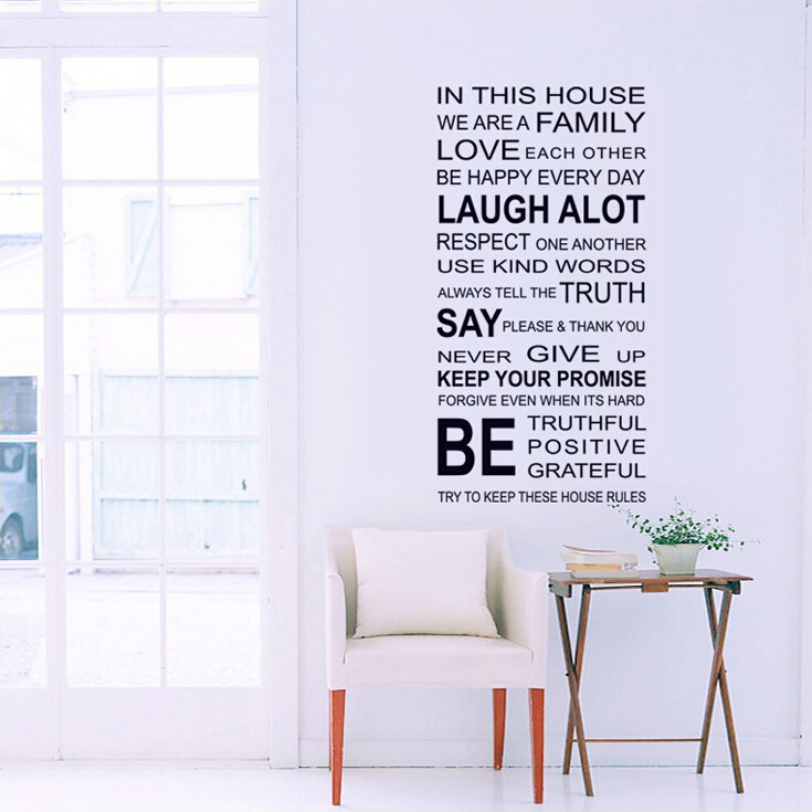 Vintage English Letter Wall Stickers Vinyl living room wall decals Home Decoration DIY Wallpaper(China (Mainland))
