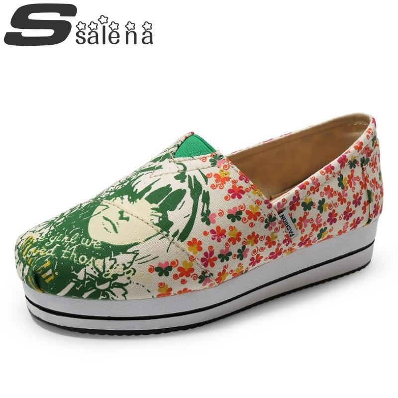 Women Loafers Women Lazy Shoes Low To Help Fashion Graffiti Canvas Shoes Breathable Ladies Flat Shoes #B2553<br><br>Aliexpress