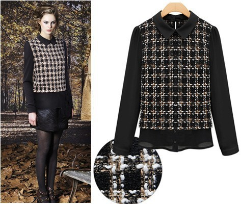 Tops For Women 2013 Autumn Vintage Checked Tweed Blouse Chiffon Long Sleeves Patchwork Blouse Peter Pan Collar Shirt  AW13D003