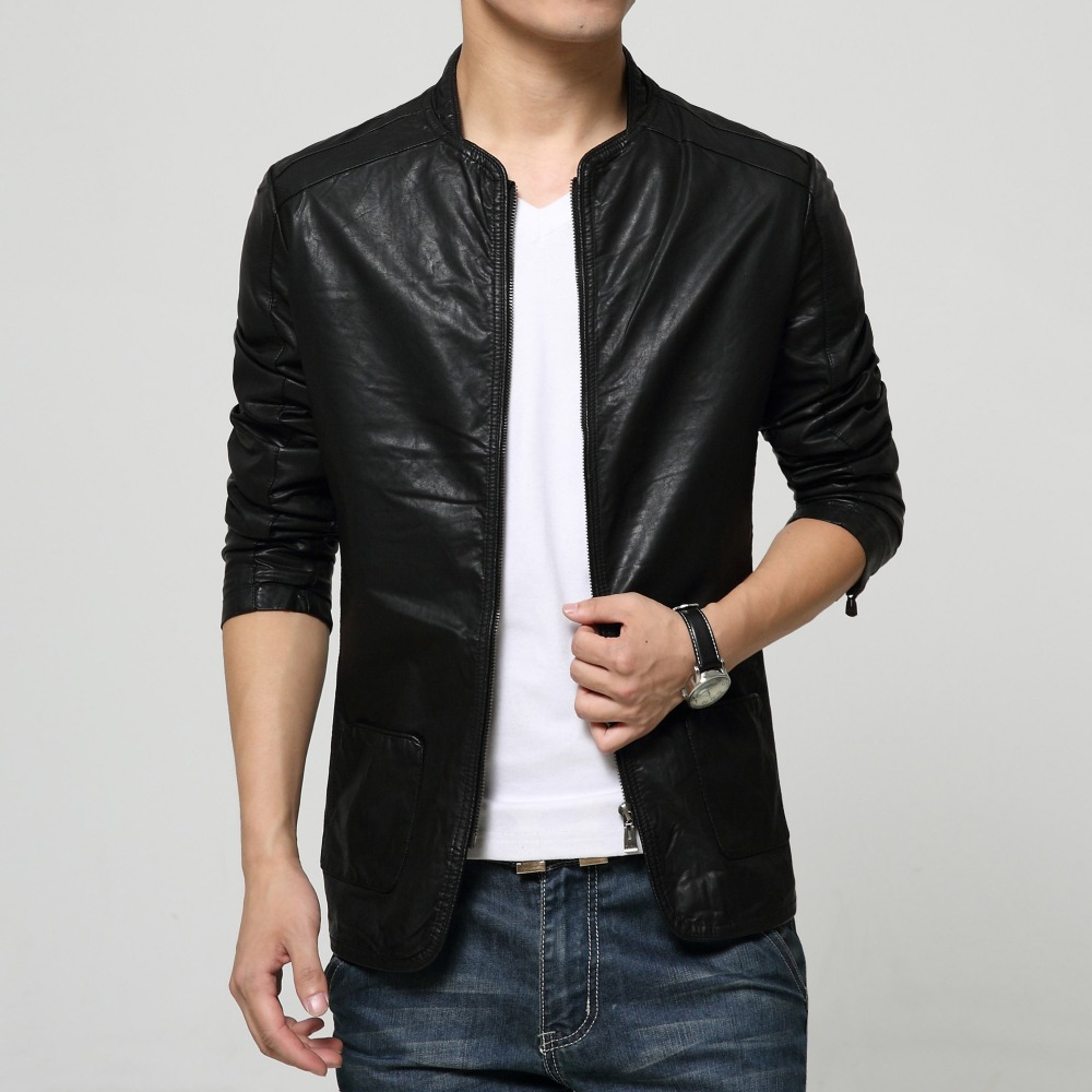 casual fashion slim fit leather jacket for men male