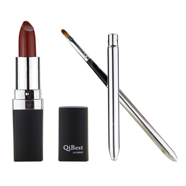 New 180sets/lot Qibest Waterproof Long Lasting Lip Gloss  Makeup Purple Blue Red 12 Colour Matte  Lipstick Lip Stick + Lip Brush<br><br>Aliexpress