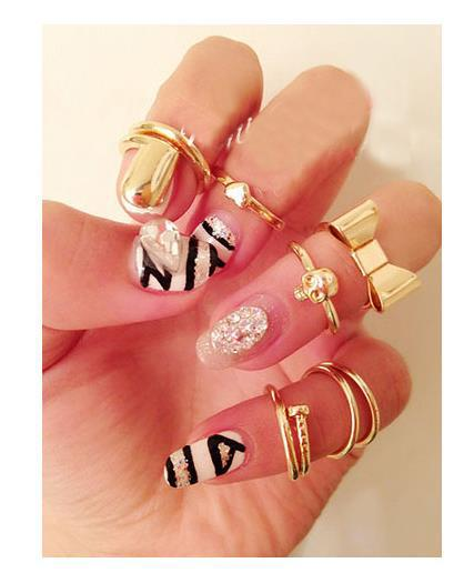Jewelry Women Sets Heart Bow Nail Accessories Punk Cool Finger Ring - Lincy Fashion store