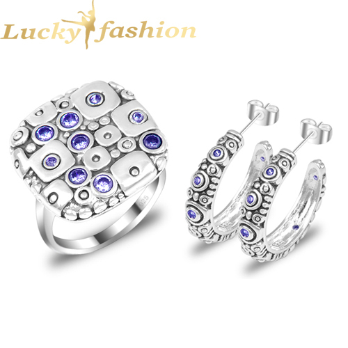 Fashion Bridal & Wedding Jewelry Sets Earrings Rings Purple Crystal Silver Plated Set Women S19 - Lucky Shine Manufacturer store