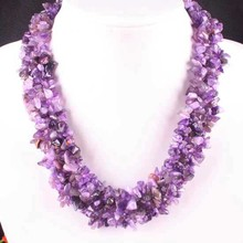 Free Shipping Jewelry 4X8MM Natural  Amethyst Chip Beads Nylon Line Weave Necklace 18″ 1Pcs E032