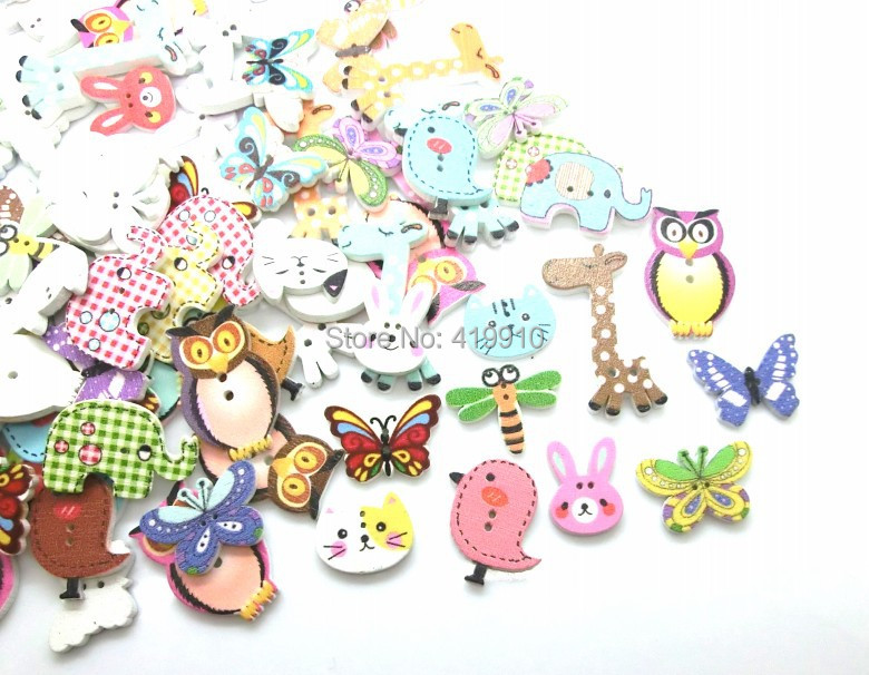-10Mixed 2 Holes pattern cartoons Wood Sewing Buttons Scrapbooking D2267 - Lovely store